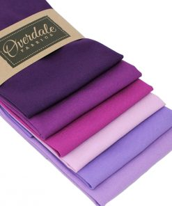 fat quarters pack in pink, violet and purple colours