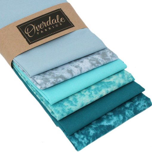 blue/ green fat quarters in overdale fabric packaging