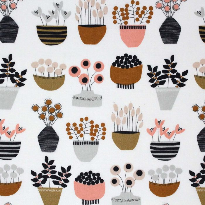 Retro style printed fabric featuring house plants.