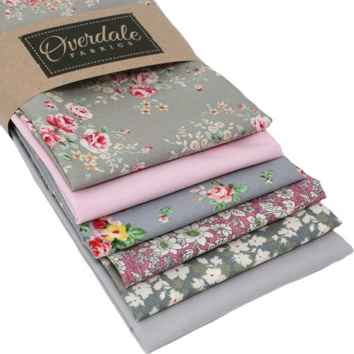 Pink and grey floral fat quarters.