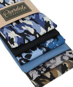 Camouflage and skull fat quarter fabrics.