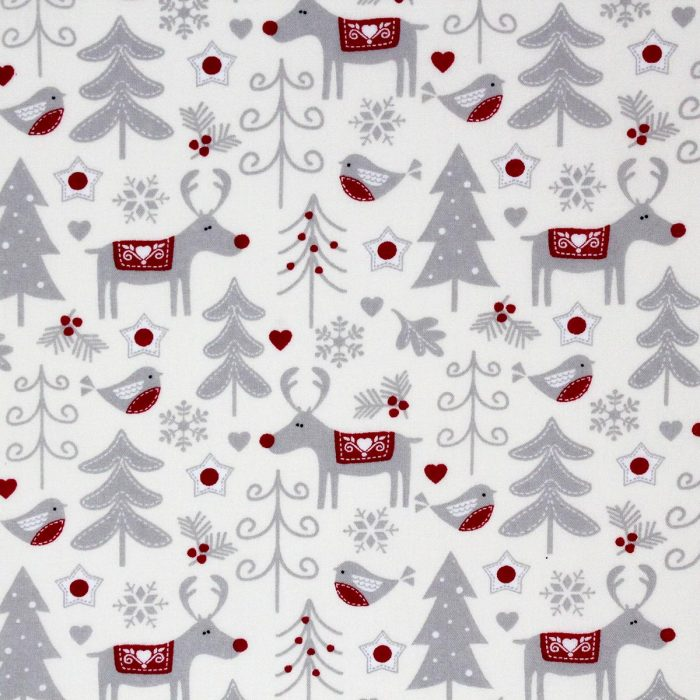Rudolph reindeer Christmas fabric in red and grey.