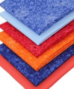 Blue and orange fat quarter fabrics.