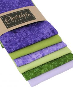 Lilac and green fat quarter fabrics.