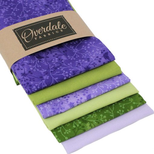 Lilac and green fat quarter fabrics.