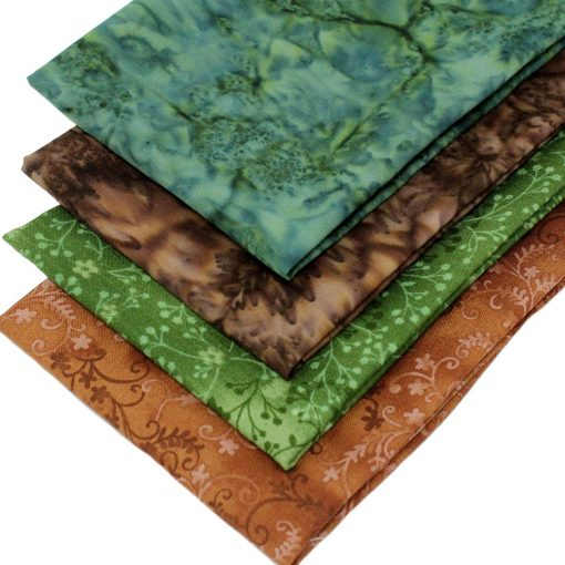 Brown and green fabrics featuring batiks.