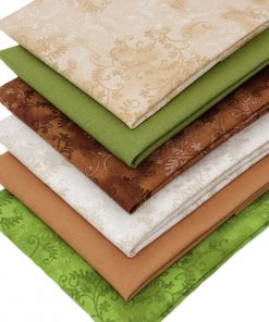 Fat quarter fabrics in natural colours.