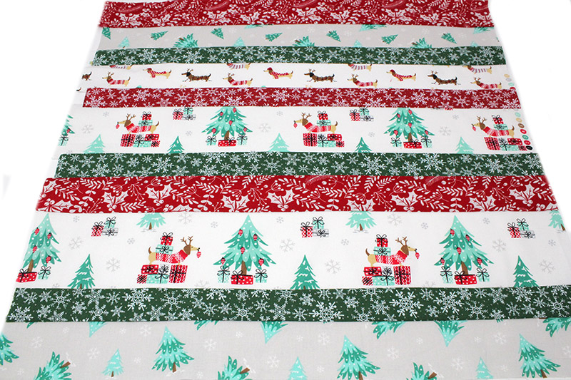 Christmas stocking tutorial - sewing strips of fabric together