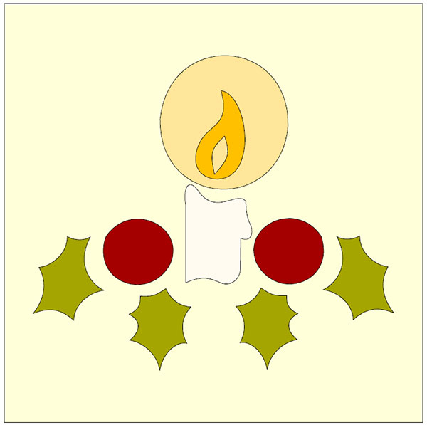 candle applique design featuring holly