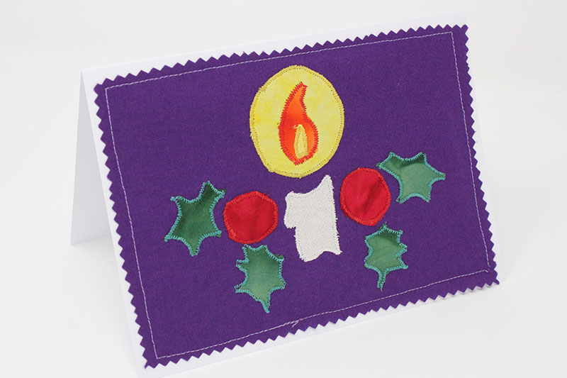 candle design christmas card made from fabric applique pieces