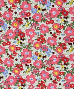Coral pink floral fabric.