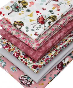 Flower fairy fabrics in shades of pink and grey.