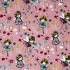 Fairy and flower fabric with a dusky pink background.