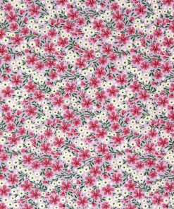 Delicate pink and yellow floral fabric.