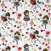 Fairy and flowers fabric in shades of pink on a white background.