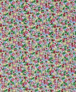 Miniature flower print in pale blue, pink, yellow and green.