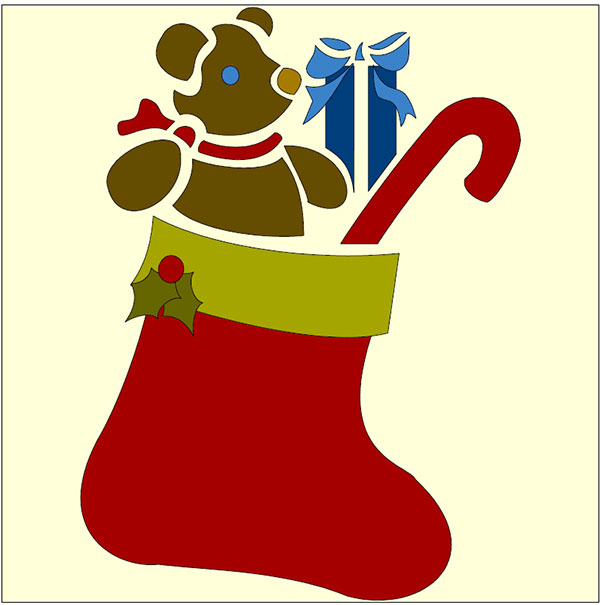 christmas stocking applique design showing teddy bear and candy stick in a red stocking