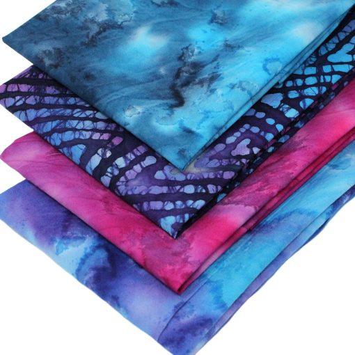 Vibrant blue and pink batik fat quarter fabrics.