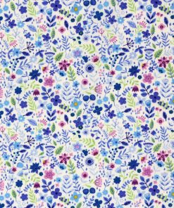 Small scale floral fabric in shades of blue and lilac.