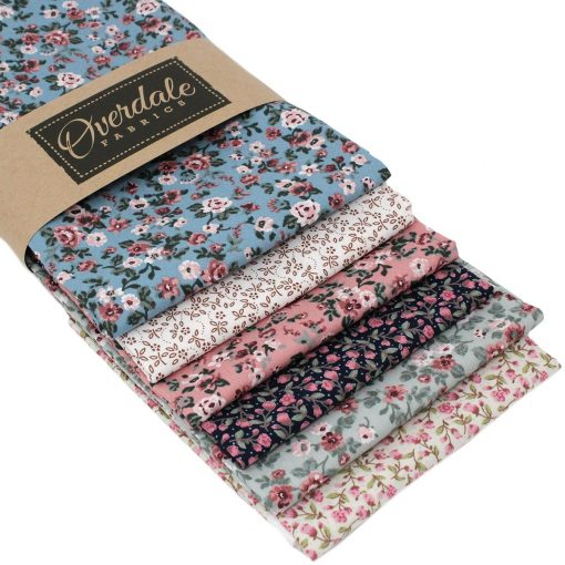 Floral fat quarter pack in muted colours.
