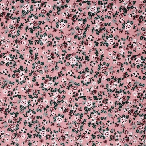 Pink floral fabric with a vintage look.
