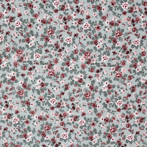 Rose fabric with a pale green background.