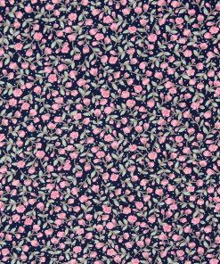 Petti pink rose buds on a navy blue background.