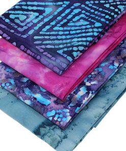 Pink blue and purple batik fat quarter fabrics.