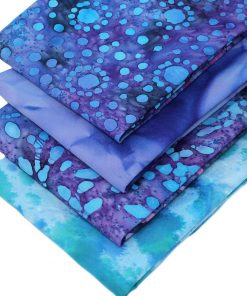 Blue and purple batik fat quarter fabrics.