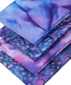 Batik fat quarter bundle in blues and purples.