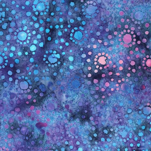 Blue and purple spotted batik fabric.