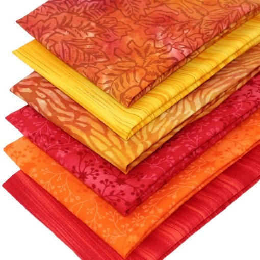 Orange, yellow and red fat quarter pack.