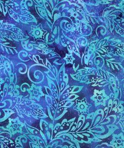 Blue and green leaf batik fabric.