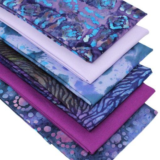 Purple and blue batik fat quarter fabrics.