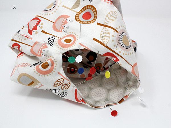 Japanese knot bag tutorial - pin the seams