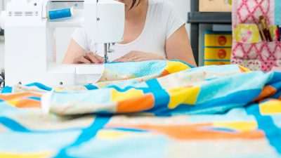 sewing at quilt at home