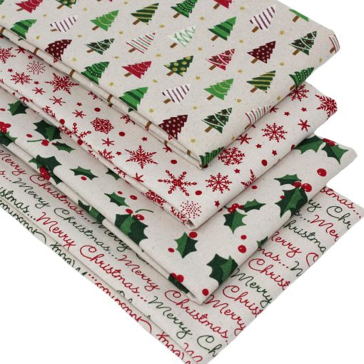 Christmas fabrics in red and green on a natural background.