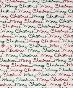 Merry Christmas writing in red and green on a natural fabric.