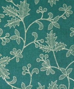 Fabric for Christmas time featuring gold mistletoe on a green background.