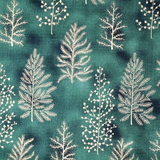 Christmas fabric in green featuring gold trees.