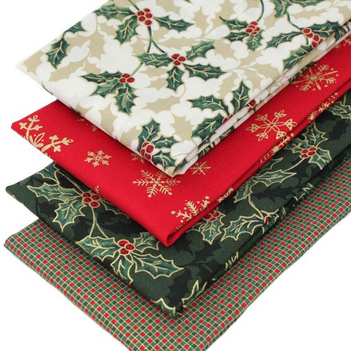 Christmas fabrics featuring holly, stars and snowflakes.