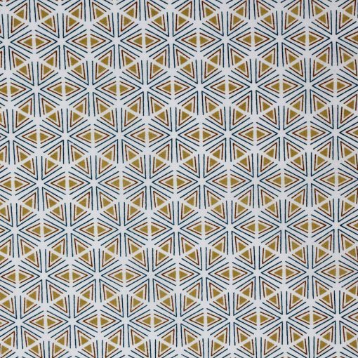 Hexagon fabric in blue and yellow.