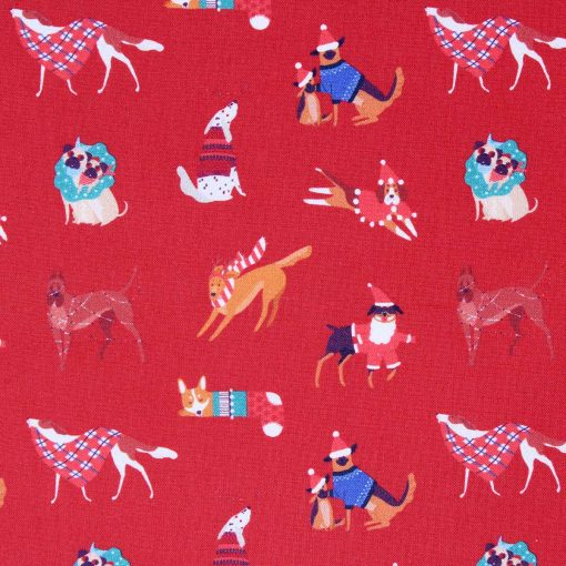 Christmas dog fabric in red.