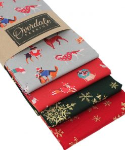 Christmas fat quarters with festive dogs and snowflakes.