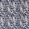 Floral fabric print on a navy blue background.
