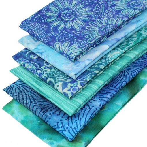 Batik fat quarter bundle in blue and green.