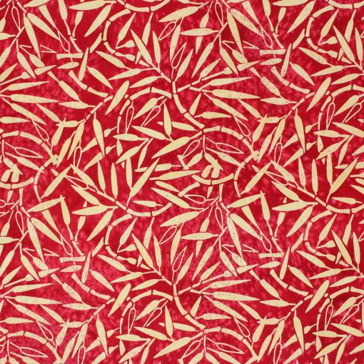 Red batik with a bamboo design.