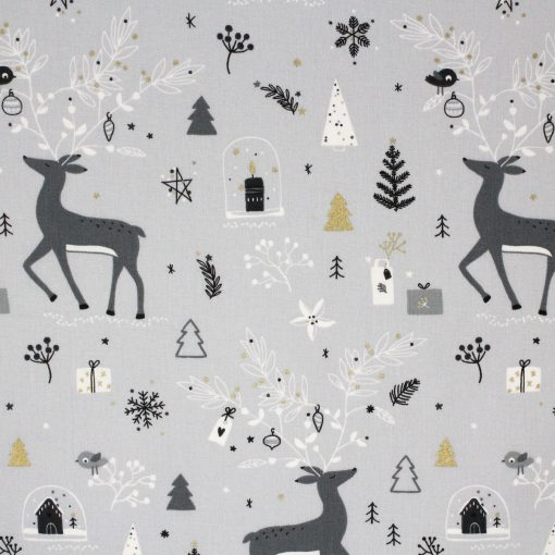 Reindeer in the forest fabric in grey and white.
