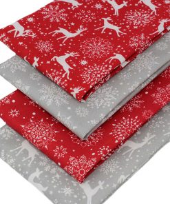 Scandi style Christmas fat quarters in red and grey.