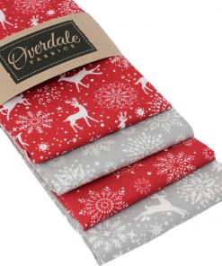 Scandi Christmas fat quarter bundle in red and grey.